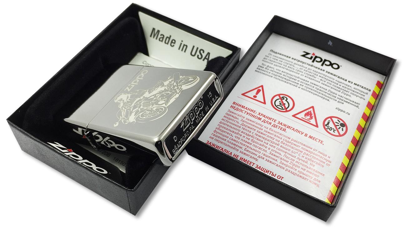 150 Moto Зажигалка Zippo, Black Ice - заводской штамп на дне зажигалки