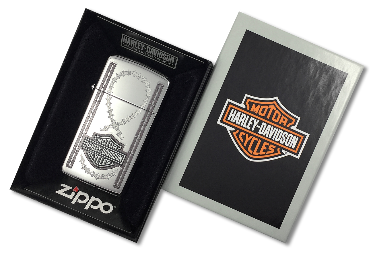 1610 Lady Bikers Зажигалка Zippo Slim Harley-Davidson Barbed Wire, Polish Chrome - в подарочной коробке