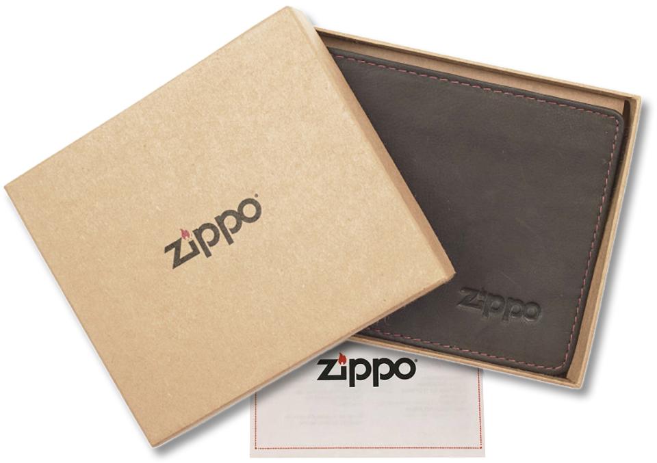 2005119 Портмоне Zippo Brown Genuine Leather Bi-fold - в подарочной коробке из экологически чистых материалов