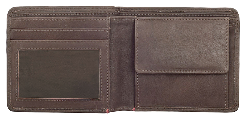2005119 Портмоне Zippo Brown Genuine Leather Bi-fold - раскрывается книжкой