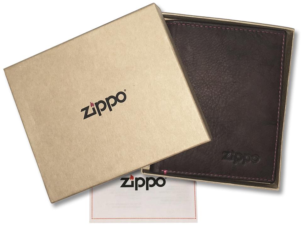 2005121 Портмоне Zippo Vertical Wallet Bi-fold Leather Mocha - подарочная коробка из экологически чистых материалов