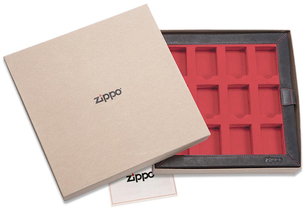 2005422 Кейс для зажигалок Zippo Leather 12 Lighter Display Collector - в подарочной коробке