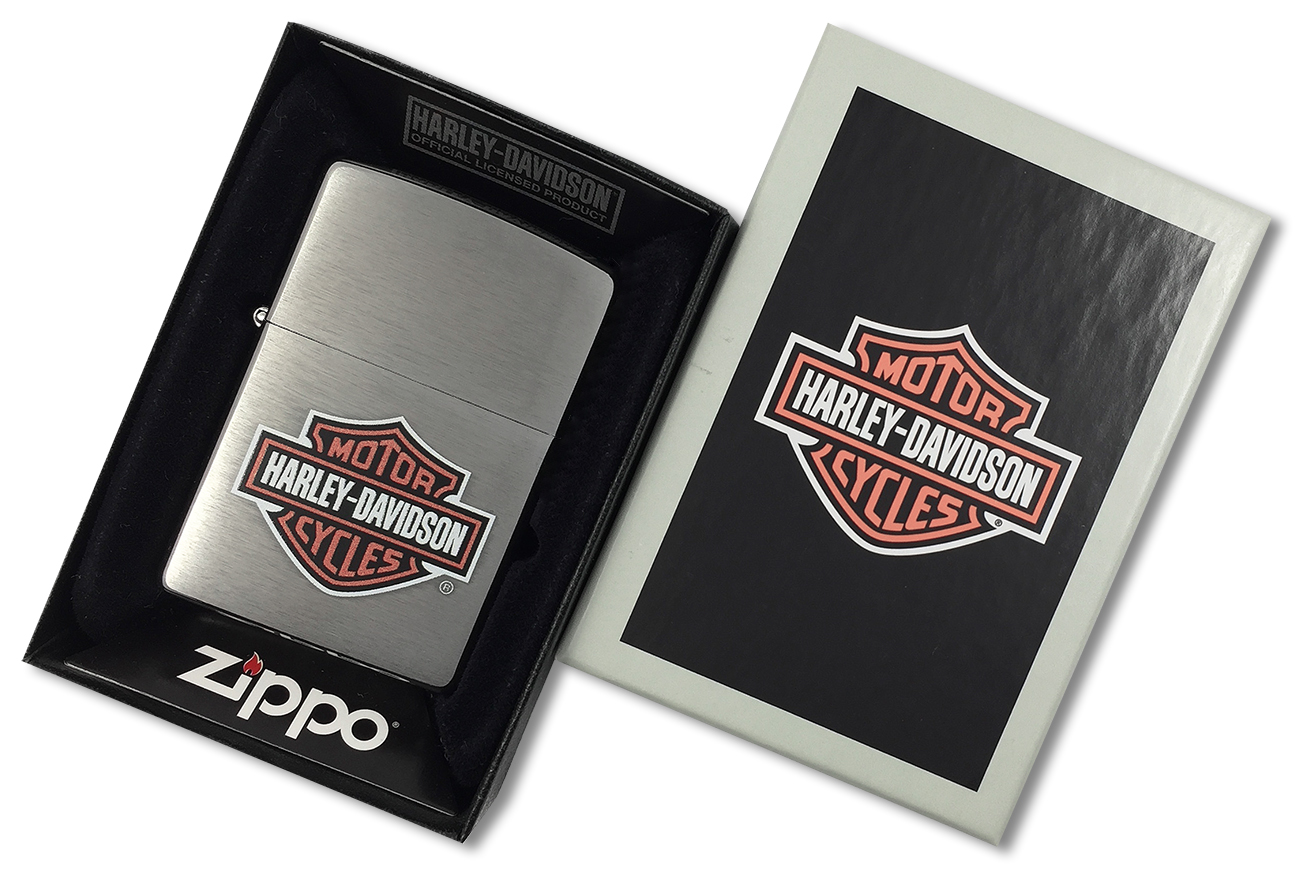 200HD.H252 Зажигалка Zippo Harley-Davidson logo, Brushed Chrome - в подарочной коробке