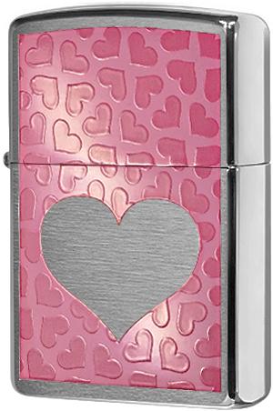200 Зажигалка Zippo Pink Hearts, Brushed Chrome