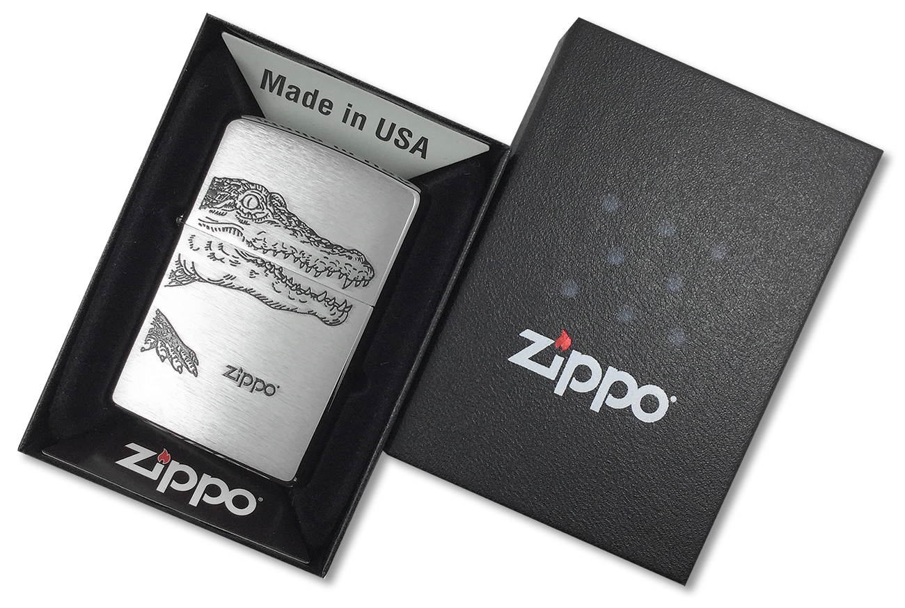 200 Alligator Зажигалка Zippo, Brushed Chrome - в подарочной упаковке
