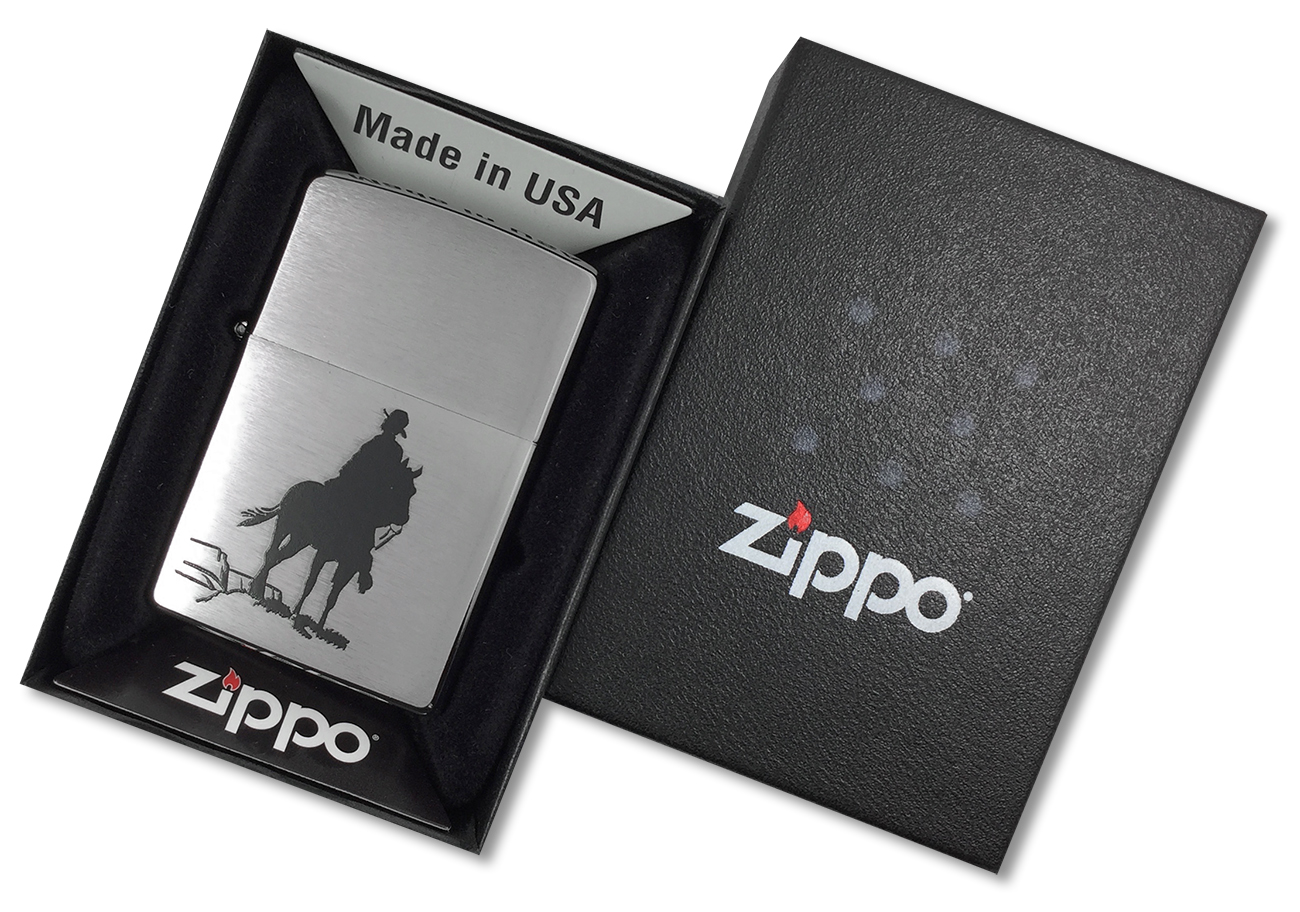 200 Bronco Зажигалка Zippo, Brushed Chrome - в подарочной упаковке