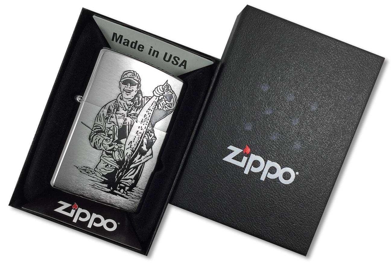 200 Fisherman Black Зажигалка Zippo, Brushed Chrome - в подарочной упаковке
