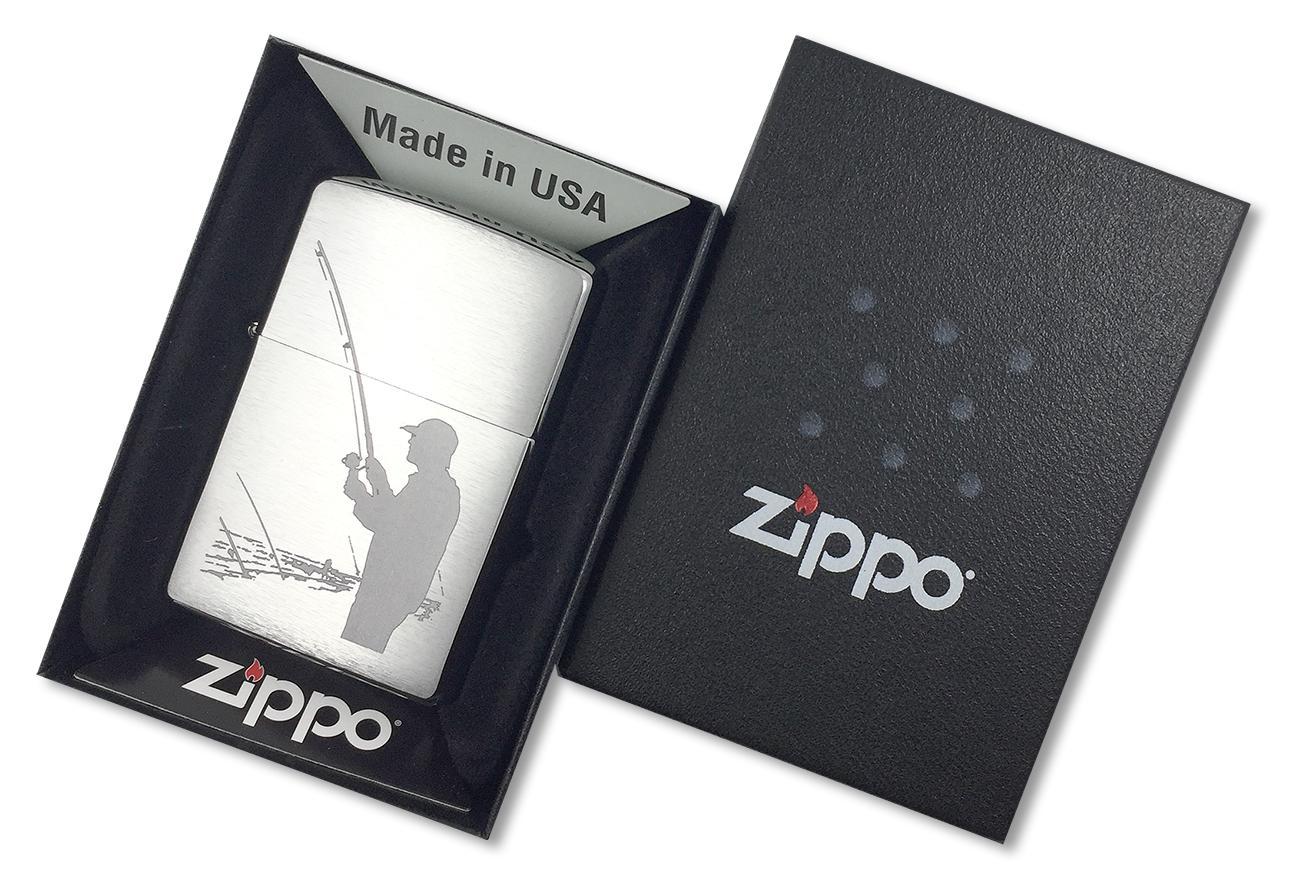 200 Fisherman Зажигалка Zippo, Brushed Chrome - в подарочной коробке
