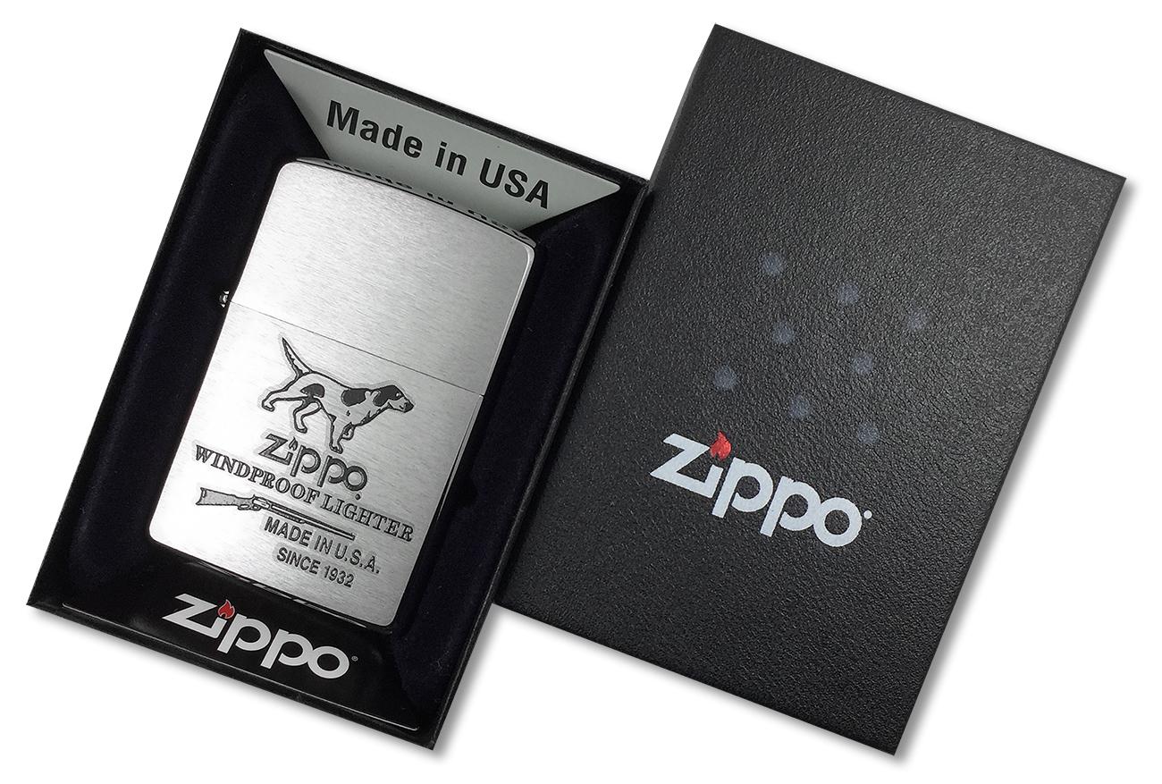 200 Hunting Tools Зажигалка Zippo, Brushed Chrome - в подарочной коробке
