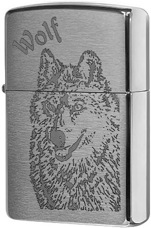 200 Wolf Зажигалка Zippo, Brushed Chrome