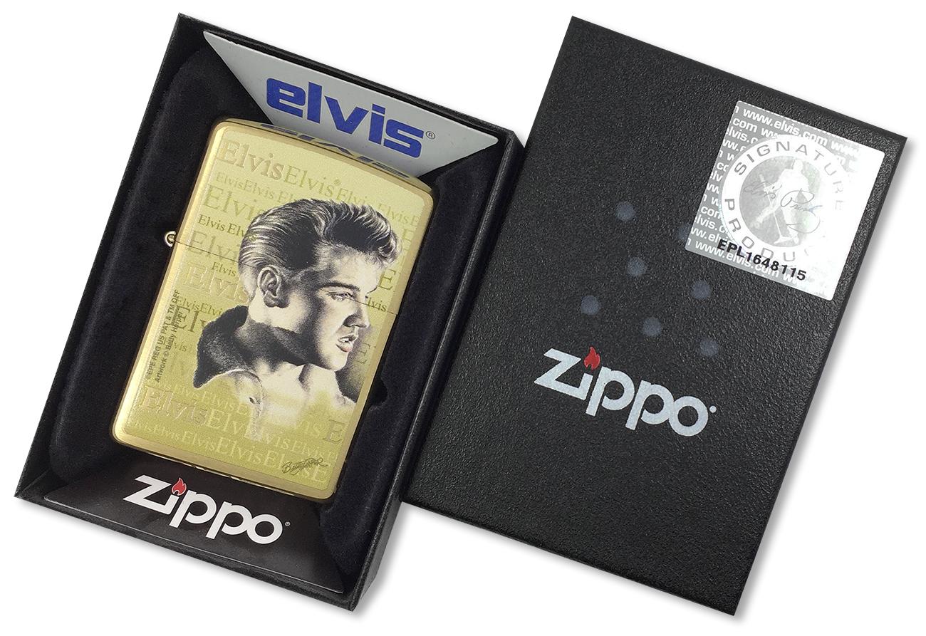 204B Elvis Зажигалка Zippo Presley, Brushed Bass - в подарочной коробке с лицензионной наклейкой