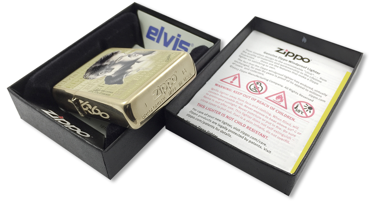 204B Elvis Зажигалка Zippo Presley, Brushed Bass - заводской штамп на дне зажигалки