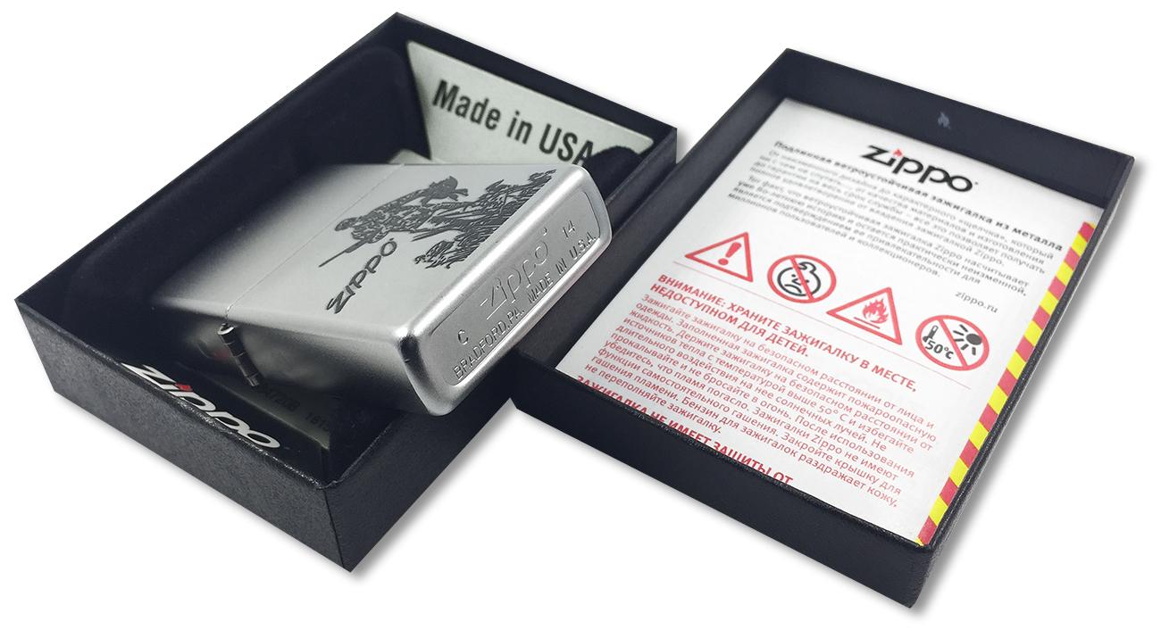 205 Duck Hunting Зажигалка Zippo, Satin Chrome - заводской штамп на дне зажигалки