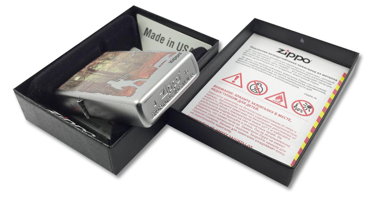 205 Hunting Зажигалка Zippo Осенняя охота, Satin Chrome - заводской штамп на дне зажигалки