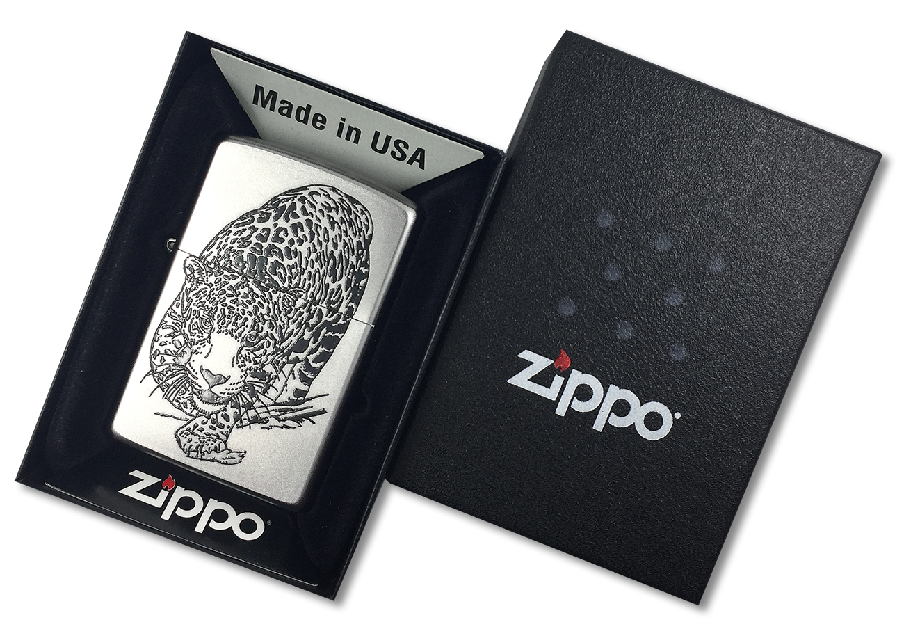 205 Leopard Зажигалка Zippo, Satin Chrome - в подарочной упаковке