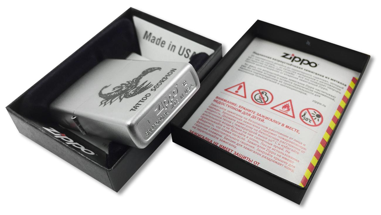 205 Tattoo Scorpion Зажигалка Zippo, Satin Chrome - заводской штамп на дне зажигалки