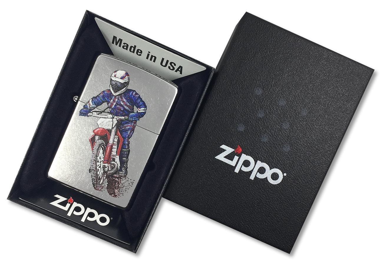 207 Dirt Bike Зажигалка Zippo, Street Chrome - в подарочной коробке