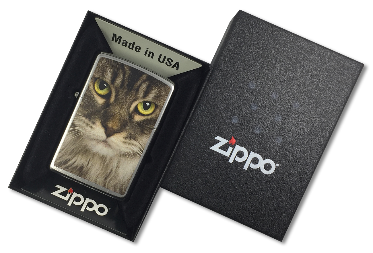 207 Зажигалка Zippo Maine Coon Cat, Street Chrome - в подарочной упаковке