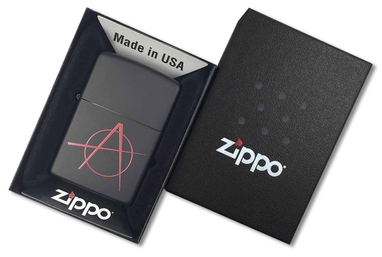 20842 Зажигалка Zippo Anarchy, Black Matte - в подарочной коробке