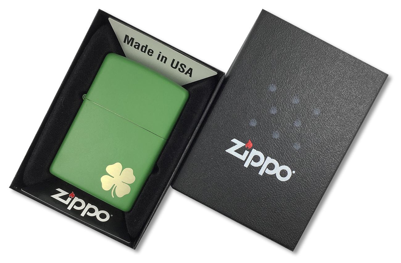 21032 Зажигалка Zippo Shamrock, Green Matte - в подарочной упаковке