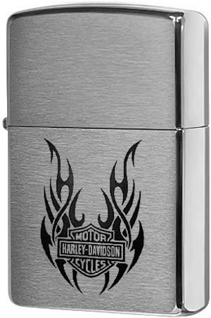 21046 Зажигалка Zippo Tribal Wings Harley-Davidson logo, Brushed Chrome
