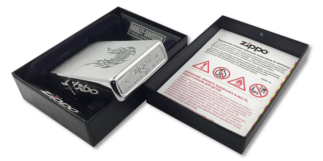 21046 Зажигалка Zippo Tribal Wings Harley-Davidson logo, Brushed Chrome - заводской штамп на дне зажигалки