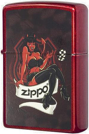 21063 Devil Girl Зажигалка Zippo, Candy Apple Red