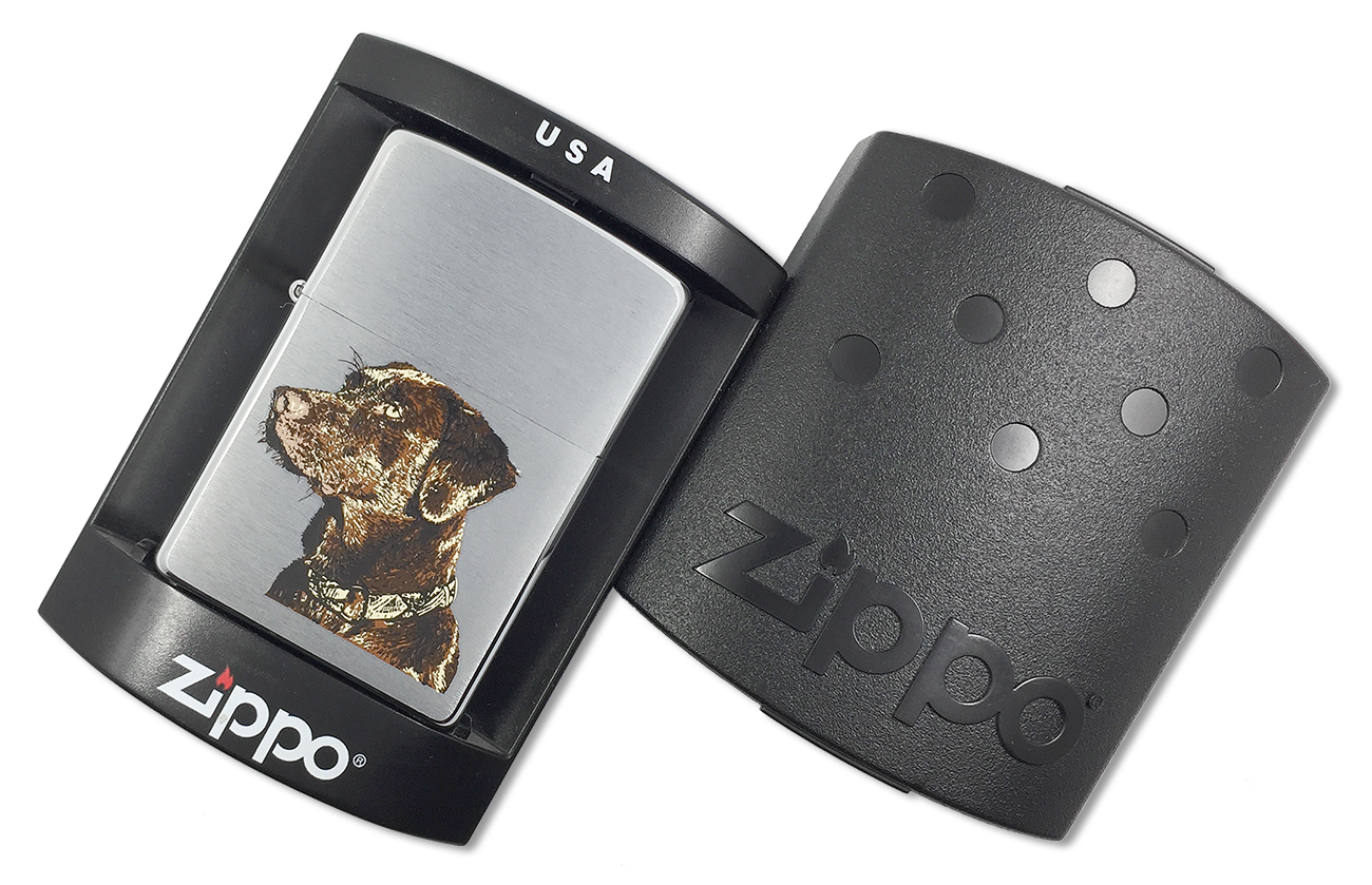 21091 Зажигалка Zippo Chocolate Lab, Brushed Chrome - в пластиковой подарочной коробке
