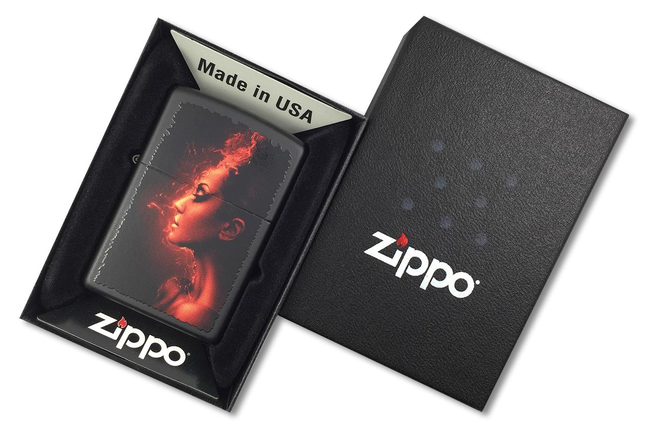 218 Burning Woman Зажигалка Zippo, Black Matte - в подарочной коробке зиппо