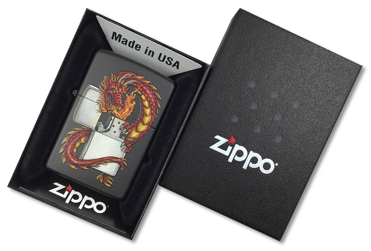 218 Dragon Зажигалка Zippo Дракон, Black Matte - в подарочной упаковке