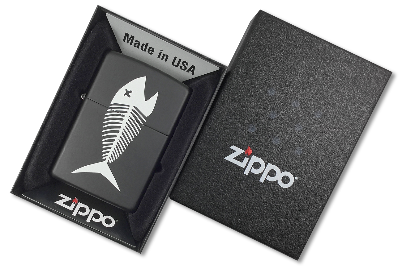 218 Fish Bones Зажигалка Zippo Скелет рыбы, Black Matte - в подарочной упаковке