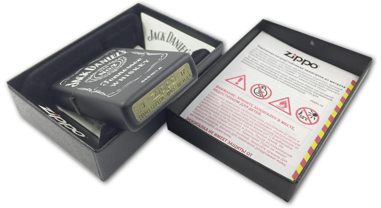 218 Зажигалка Zippo Jack Daniel's old N7, Black Matte - заводской штамп на дне зажигалки