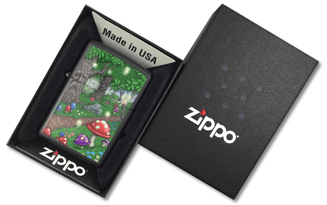 218 Зажигалка Zippo Fairy Land-Woods, Black Matte - в подарочной коробке зиппо