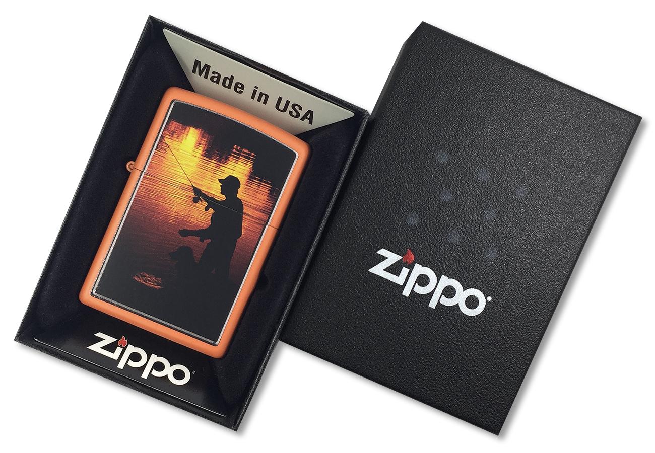231 Fishing Зажигалка Zippo Ночная рыбалка, Orange Matte - в подарочной коробке