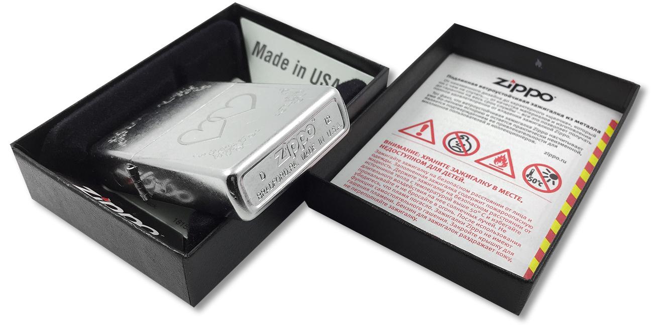 24016 Зажигалка Zippo Heart to Heart, Street Chrome - заводской штамп на дне зажигалки
