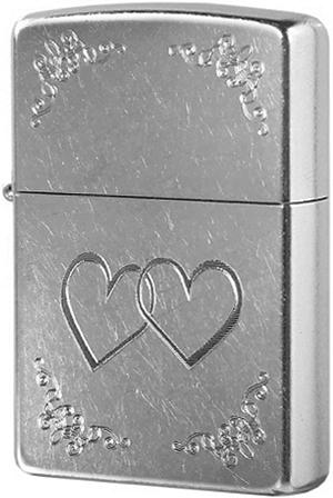 24016 Зажигалка Zippo Heart to Heart, Street Chrome