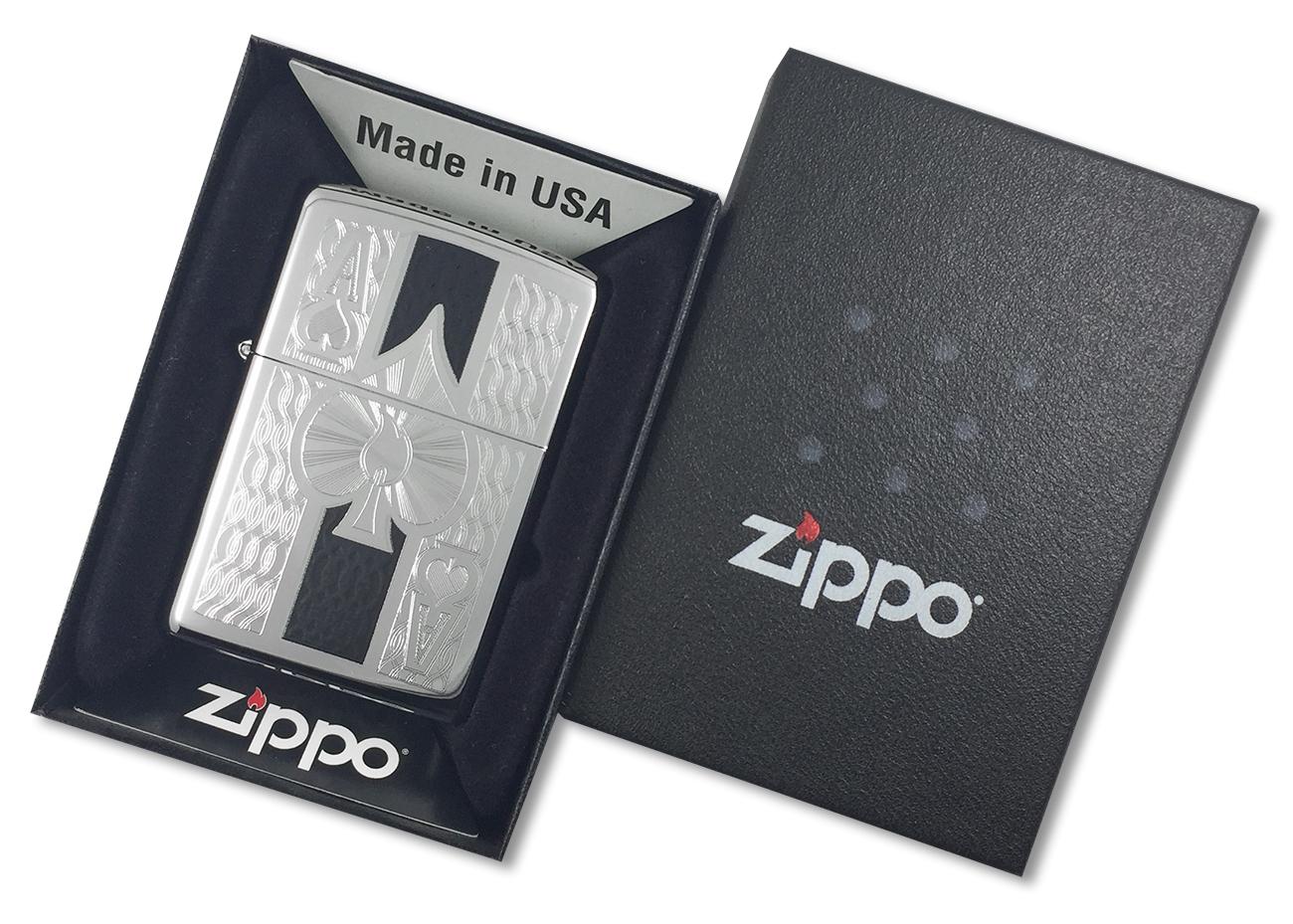 24196 Зажигалка Zippo Ace Engraved, Polish Chrome - в подарочной упаковке