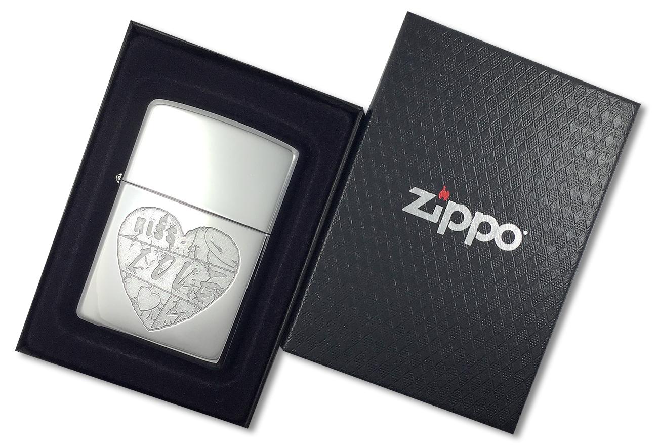 24198 Зажигалка Zippo For The Love, Polish Chrome - в подарочной коробке