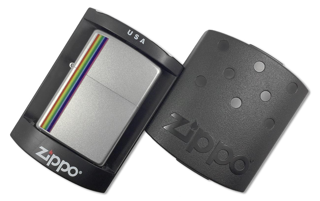 24340 Зажигалка Zippo Colorz, Satin Chrome - в подарочной коробке