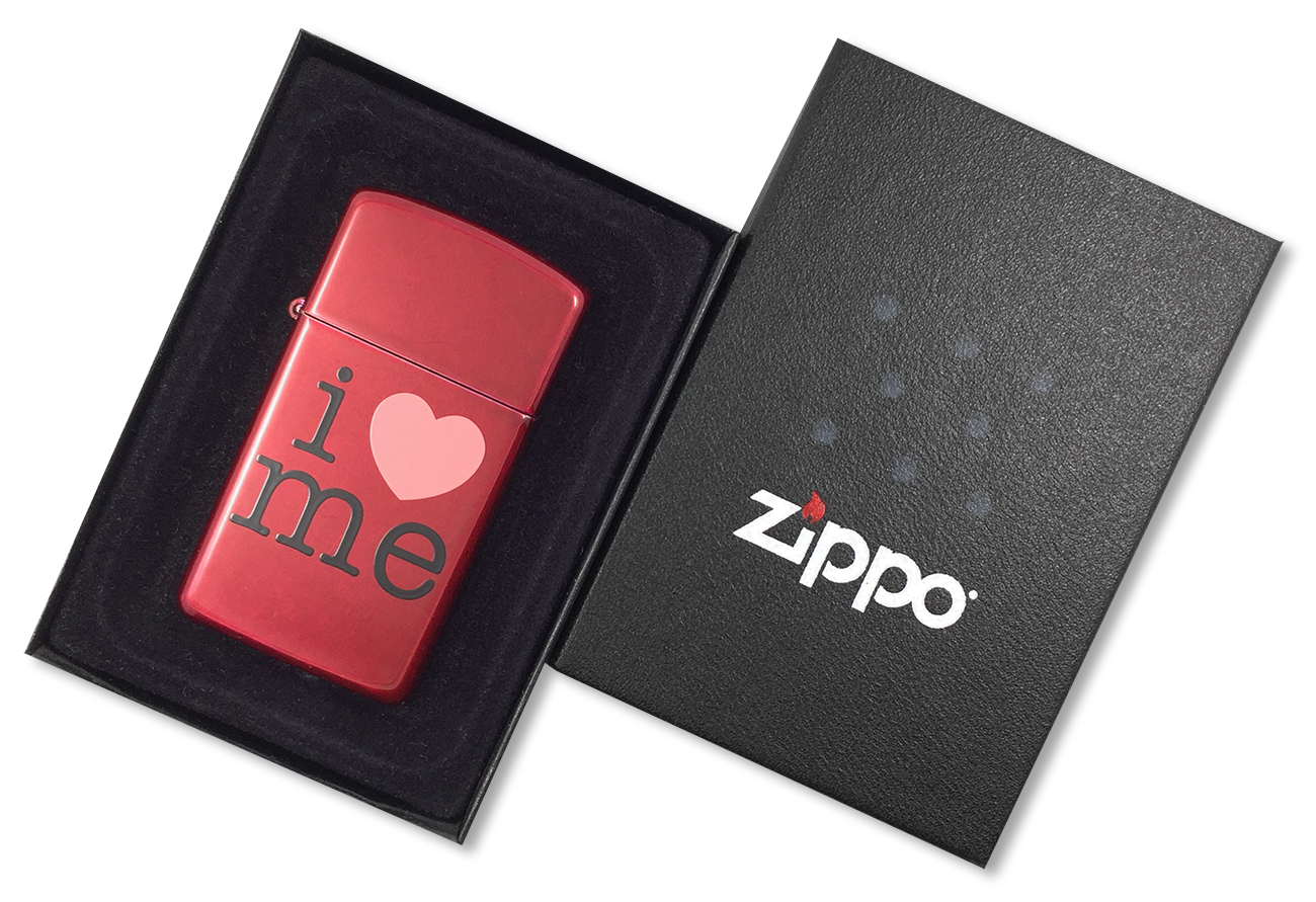 24352 Зажигалка Zippo Slim I Love Me, Candy Apple Red - в подарочной упаковке
