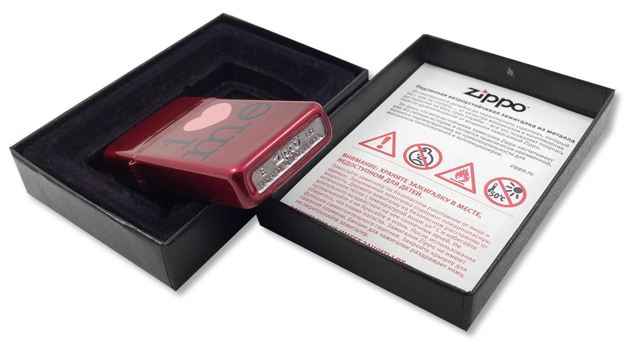 24352 Зажигалка Zippo Slim I Love Me, Candy Apple Red - заводской штамп на дне зажигалки
