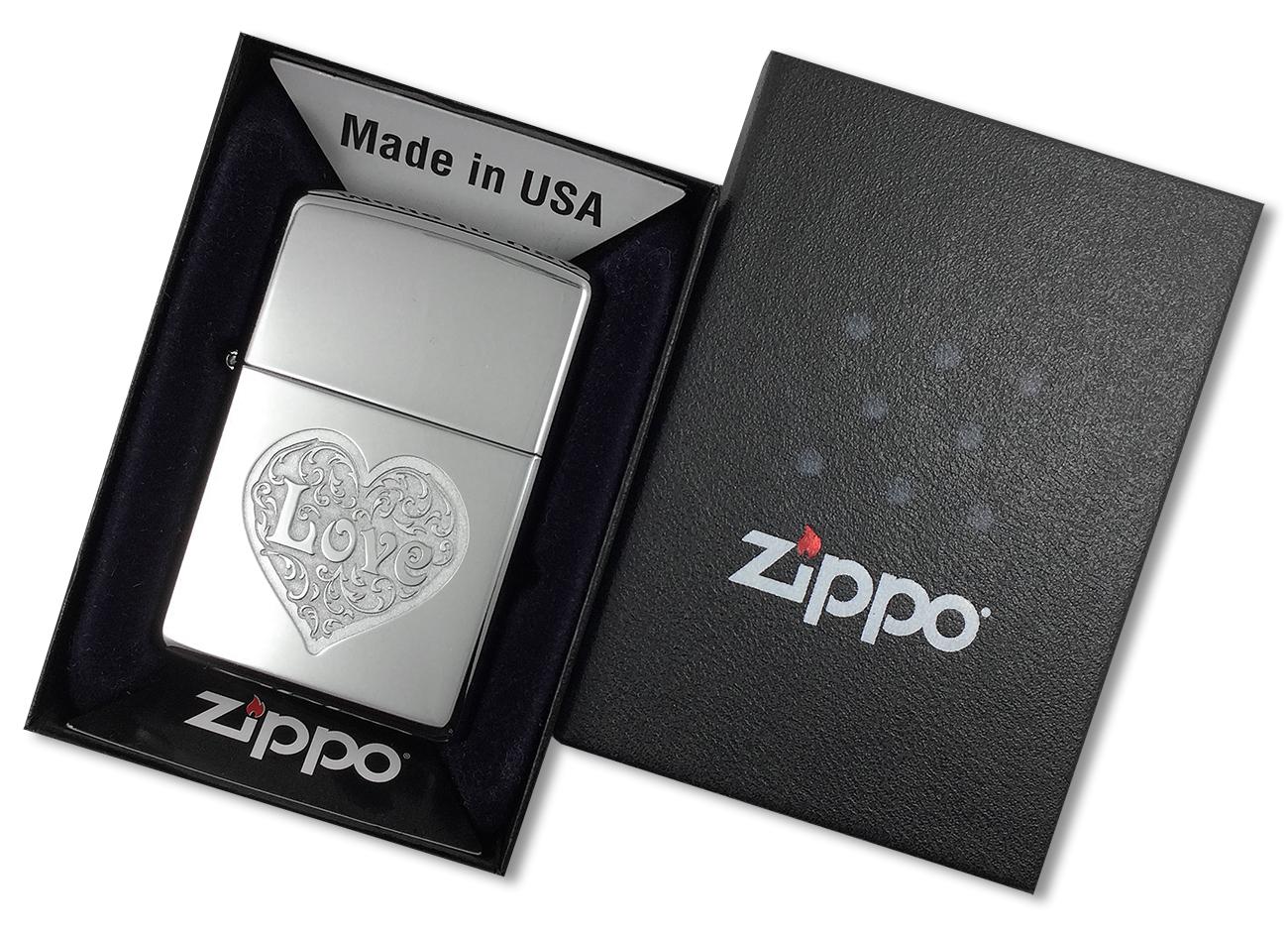 24459 Зажигалка Zippo Love, Polish Chrome - в подарочной упаковке
