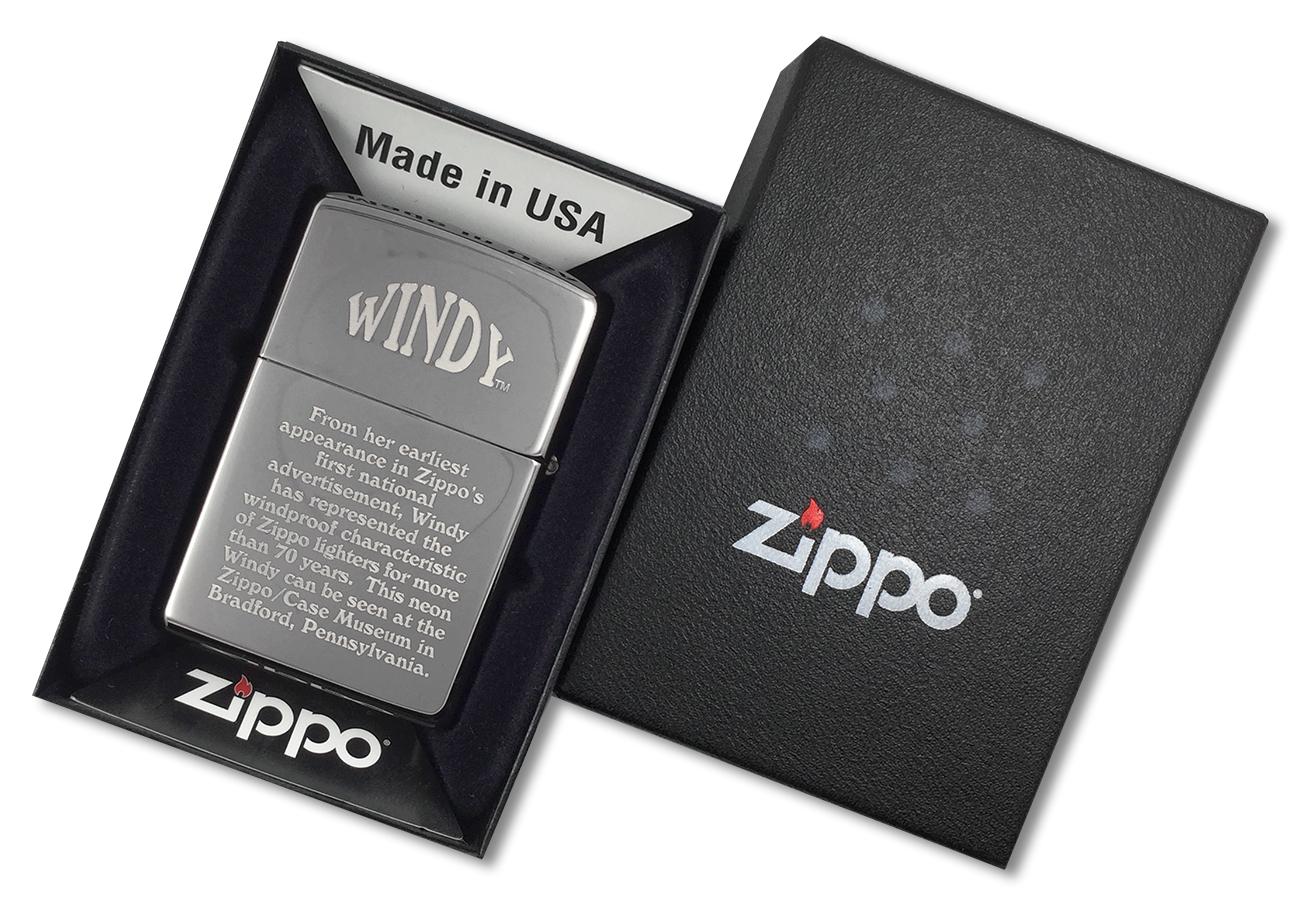 24482 Зажигалка Zippo Museum Collection Windy, Black Ice - обратная сторона зажигалки зиппо