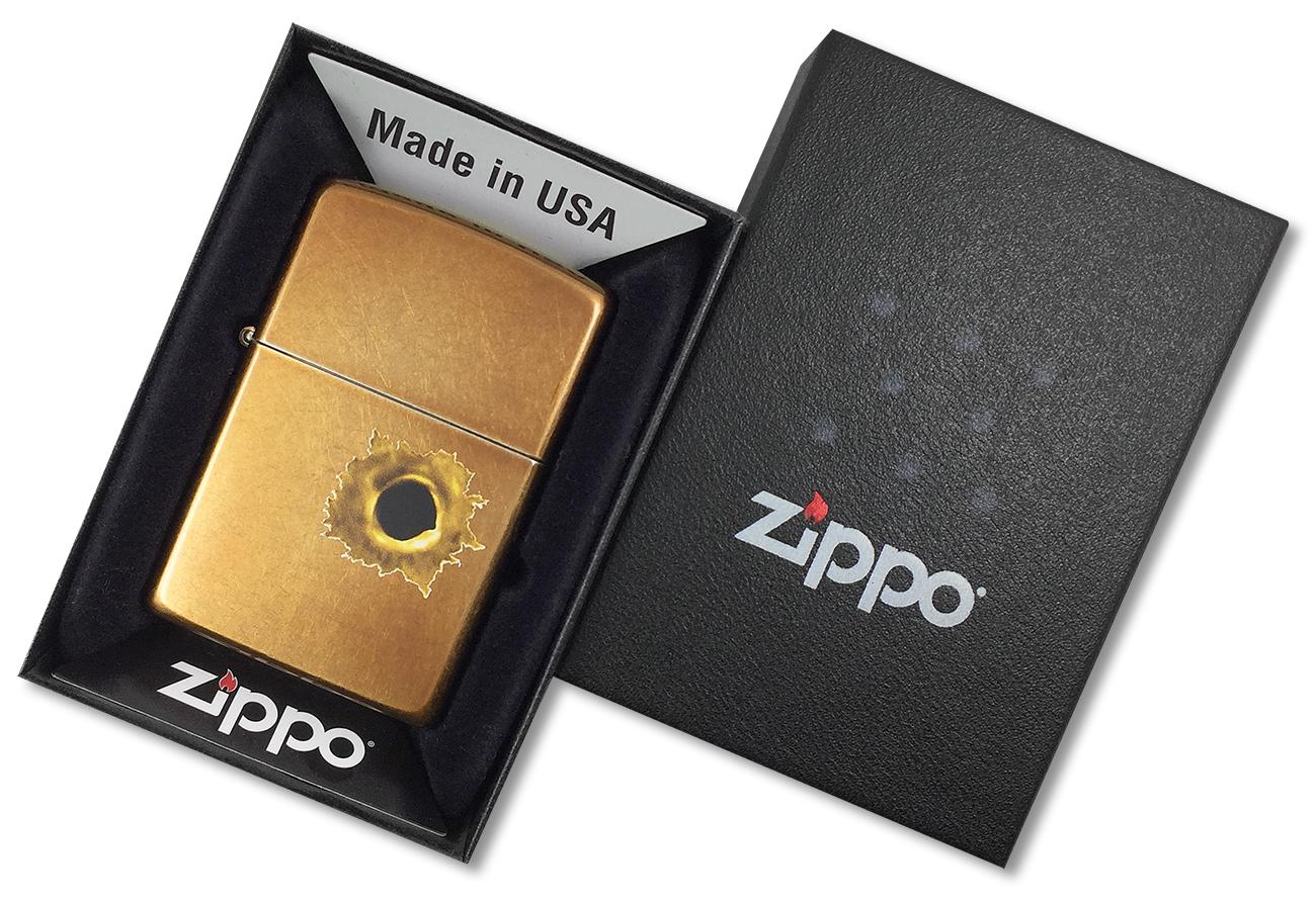 24717 Зажигалка Zippo Bullet Hole, Toffee Finish - в подарочной упаковке