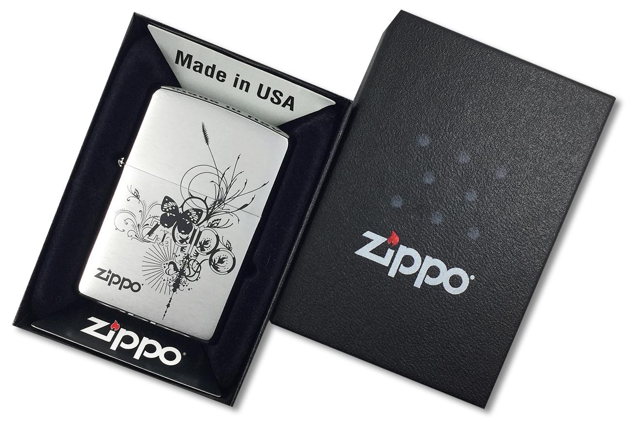 24800 Зажигалка Zippo Butterfly, Brush Chrome - в подарочной коробке