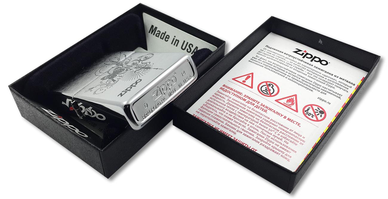 24800 Зажигалка Zippo Butterfly, Brush Chrome - заводской штамп на дне зажигалки