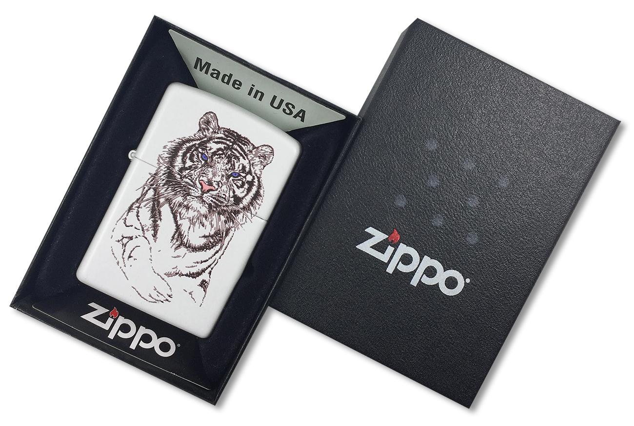 24810 Зажигалка ZIppo White Tiger, White Matte - в подарочной упаковке