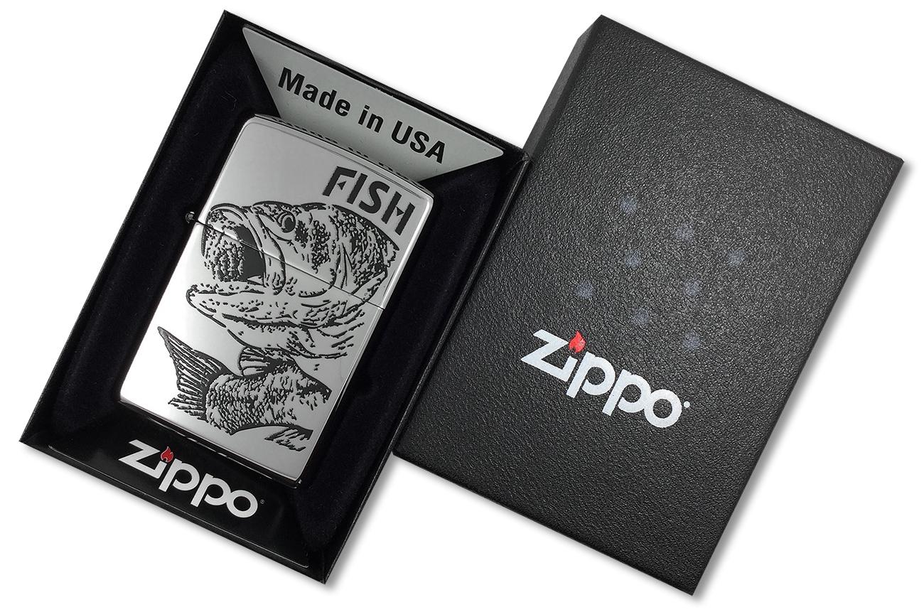 250 Fish Big Mouth Зажигалка Zippo, Чёрный окунь, Polish Chrome - в подарочной коробке