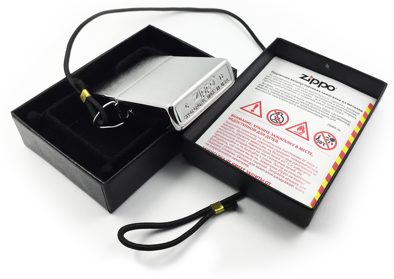275 Зажигалка Zippo Loss Proof, Brushed Chrome - заводской штамп на дне зажигалки
