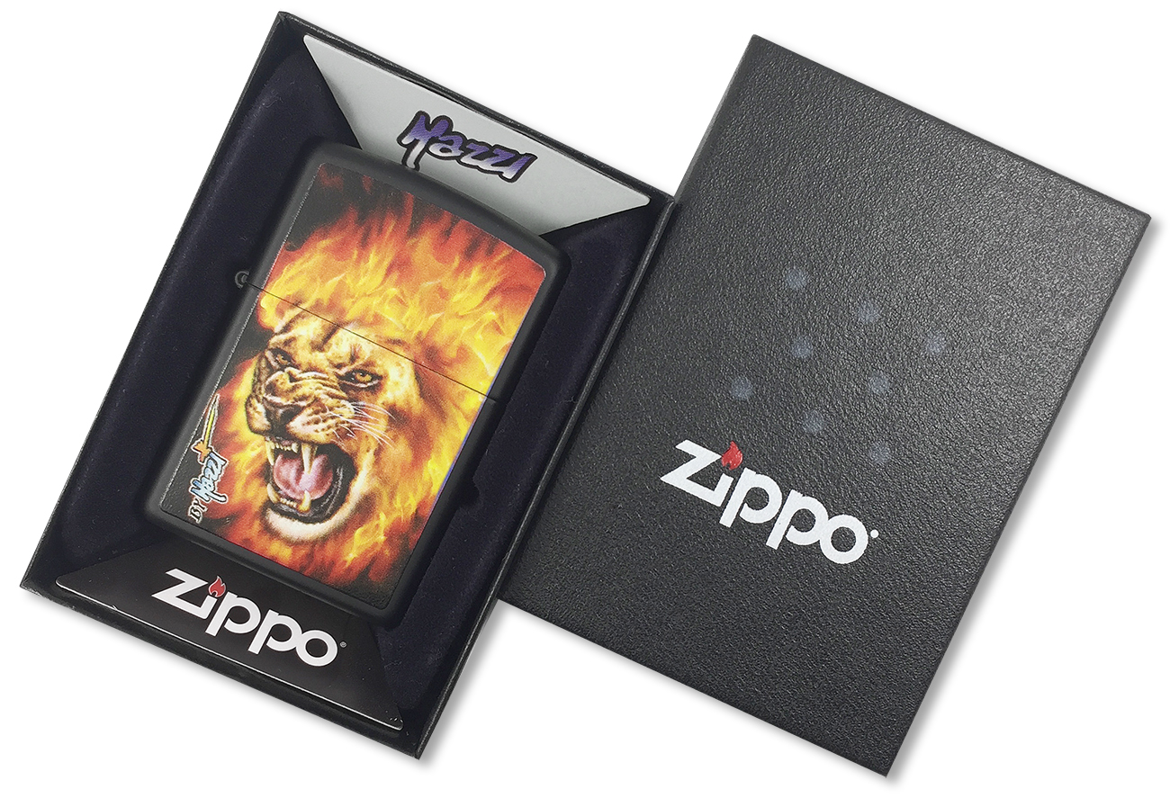 28003 Зажигалка Zippo Mazzi Flame Lion, Black Matte - в подарочной коробке
